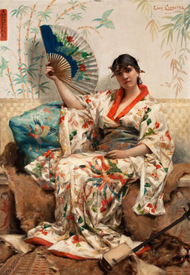 Leon Francois Comerre. The woman in the costume of Japanese women.