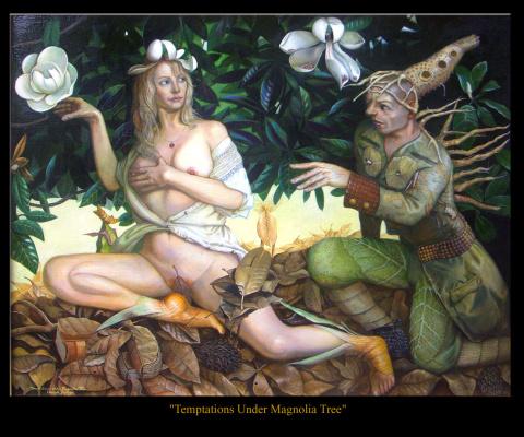 """Henryk Michael Fantazos. """"Temptations under Magnolia Tree"""""""