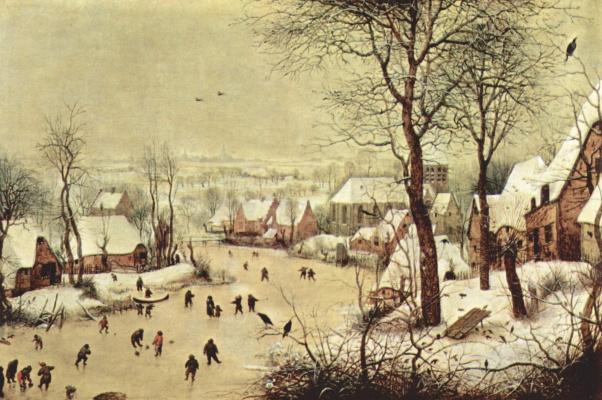 Питер Брейгель Старший. Зимний пейзаж с конькобежцами и ловушкой для птиц