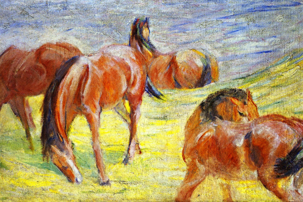 Franz Marc. Horses in the pasture