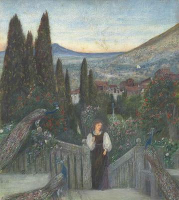 Мария Евфросина Спартали Стиллман. Italian landscape. Girl in the garden with peacocks
