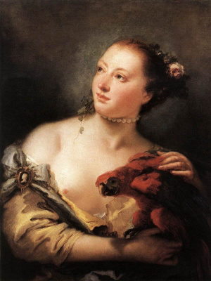 Джованни Баттиста Тьеполо. Young woman with a parrot