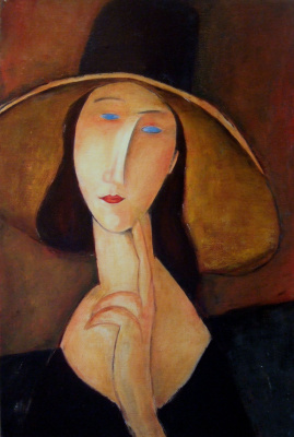 Андрей Харланов. Copy: Modigliani - J. Hébuterne with large hat 1917 Oil on canvas 55 x 38 cm
