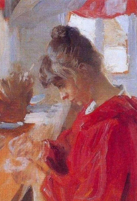 Peder Severin Kreyer. Marie in red dress
