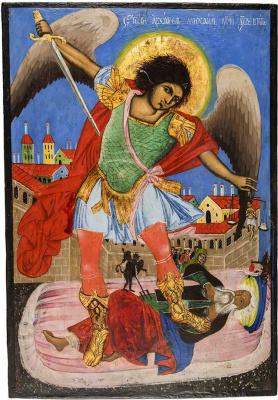 Болгарская икона. Архангел Михаил изымает душу богатого