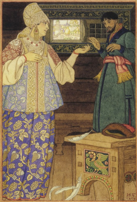 """Ivan Yakovlevich Bilibin. Andrei-shooter and Streltsikha. Illustration to the Russian folk tale """"Go there - I do not know where"""""""