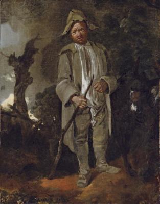 Томас Гейнсборо. Пожилой крестьянин с ослом на фоне пейзажа