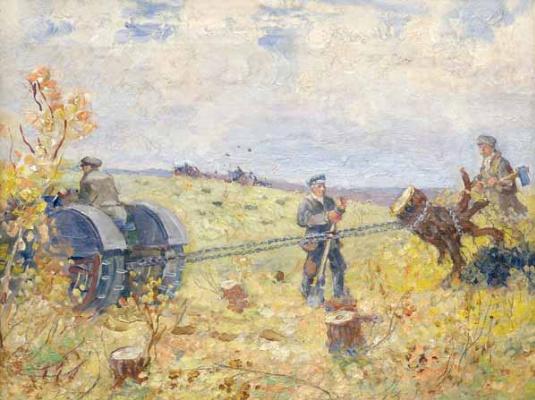 Alexander Mikhailovich Gerasimov. The uprooting of the stubis.1920-1930s
