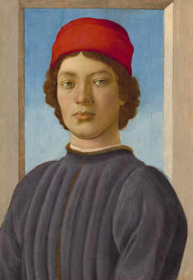 Sandro Botticelli. Portrait of a young man in red cap