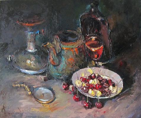 Борис Михайлович Проказов. Натюрморт с черешней.  2015