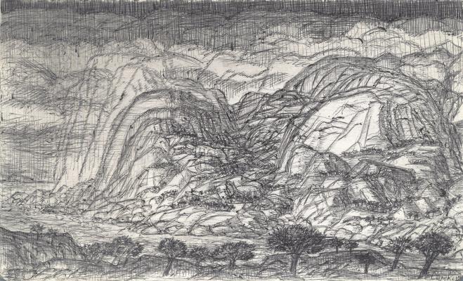 """Сергей Николаевич Симкин. """"Rocks. Stream. Sky."""" fig. 1"""