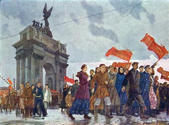 Alexander Alexandrovich Deineka. The October slogans of peace at the Neva gate