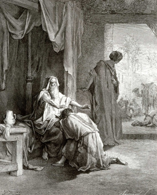 Paul Gustave Dore. Bible illustrations: Isaac blesses Jacob