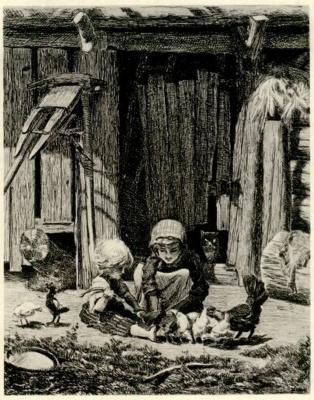 Константин Аполлонович Савицкий. Дети кормят цыплят у хлева