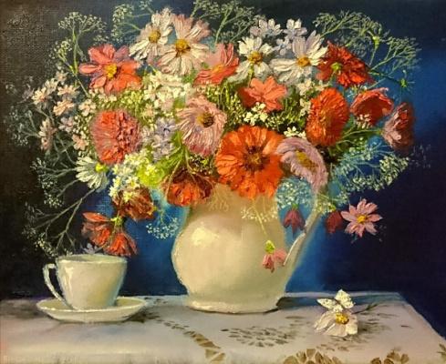 Evgeny Vladimirovich Terentyev. Wildflowers on a blue background
