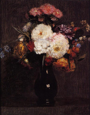 Анри Фантен-Латур. Георгины, розы и цветы кукурузы