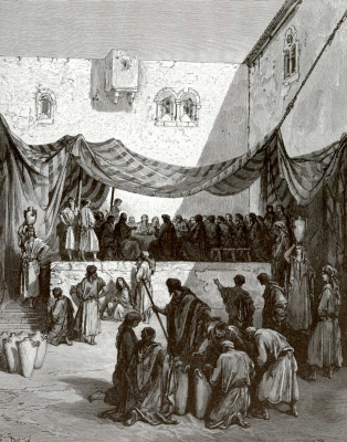 Paul Gustave Dore. Illustration to the Bible: Marriage in Cana of Galilee