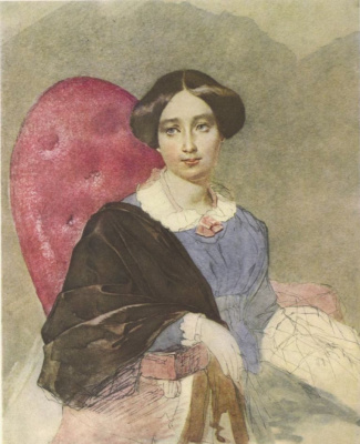 Taras Grigorievich Shevchenko. Portrait of an unknown woman in a blue outfit