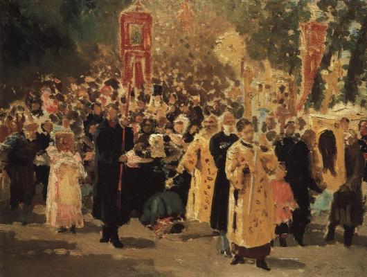 Ilya Efimovich Repin. Religious procession in the oak forest. Showing the icon.