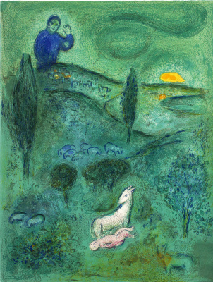 "Marc Chagall. Laymon finds Daphnis. From the series ""Daphnis and Chloe"""