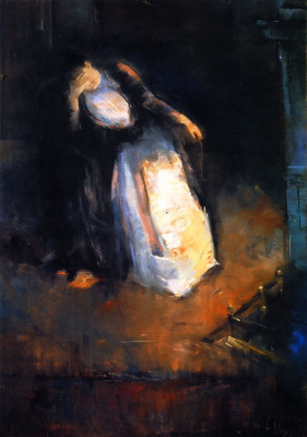 Lesser Ury. The woman at the fireplace