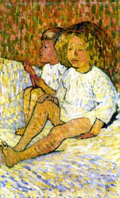 Giovanni Giacometti. Children on bed