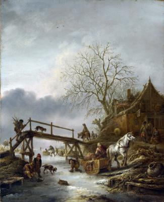 Изак ван Остаде. Зимняя сцена
