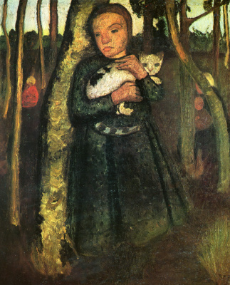 Паула Модерзон-Беккер. Девочка с кошкой в березовой роще