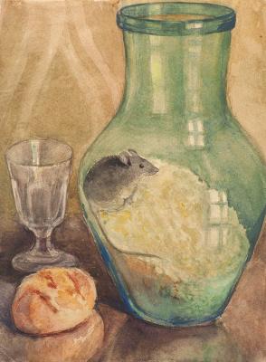 Елена Дмитриевна Чичагова-Россинская. Натюрморт с бутылкой, мышью и хлебом. 1940 - е