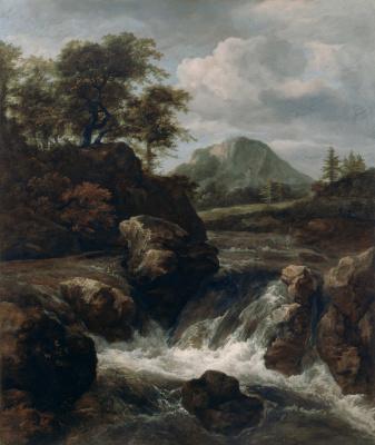 Jakob van Isaacs Ruisdael. Mountain landscape with a waterfall