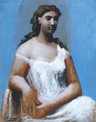 Пабло Пикассо. Сидящая женщина в сорочке