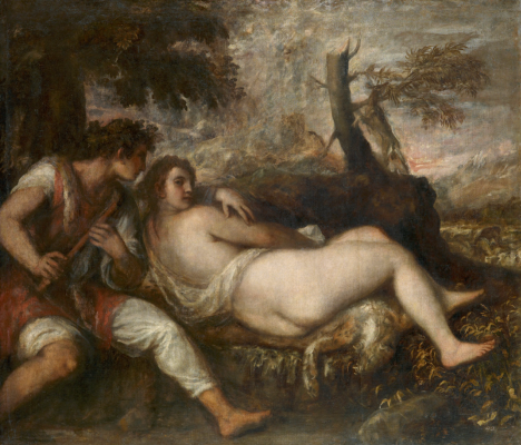 Titian Vecelli. Nymph and shepherd