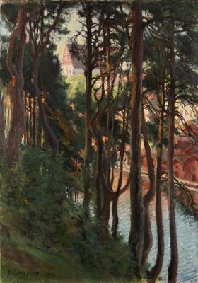 Альберт Густав Аристид Эдельфельт. Вид на Порво с горы Няминмяги (Сосны в Борго). 1898