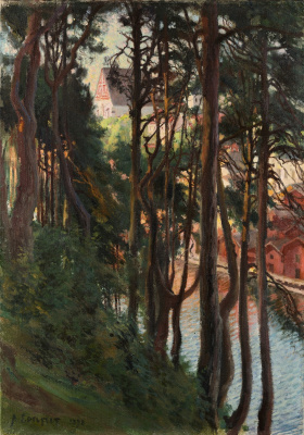 Albert Gustav Aristide Edelfelt. View of Porvoo from Nymenmägi mountain (Pines in Borgo). 1898