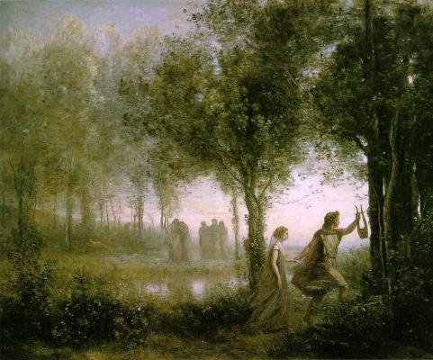 Camille Corot. Orpheus Leading Eurydice of the Underworld