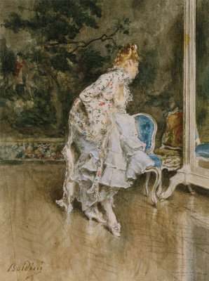 Giovanni Boldini. Woman in front of a mirror