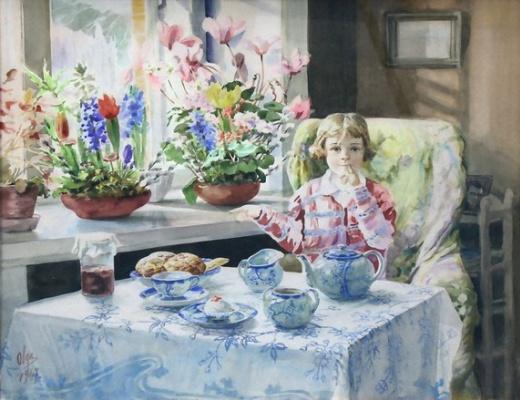 Olga Alexandrovna Romanova. The granddaughter of Princess Olga Xenia eats