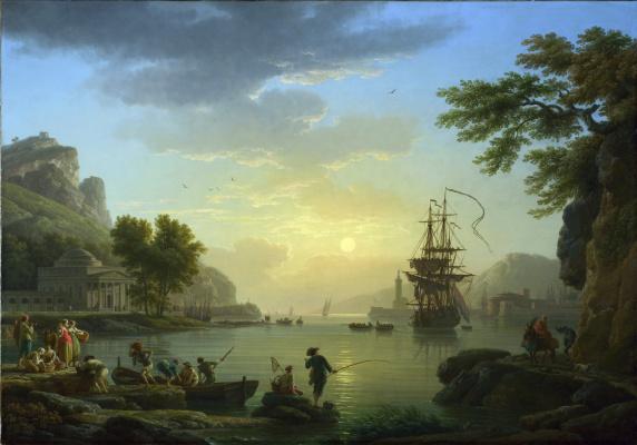 Claude Joseph Vernet. Landscape at sunset