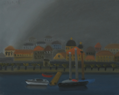 Александр Флоренский. Вид на Котор из окна моей мастерской. Туман 2