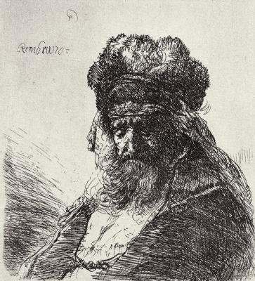 Рембрандт Харменс ван Рейн. Старый бедняк в меховой шапке