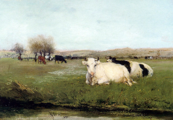 Willem Maris. Cows on the meadow