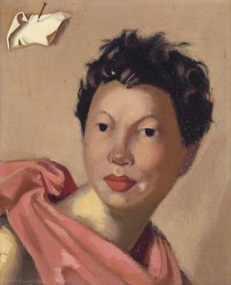 Tamara Lempicka. Gabriela in a pink cape