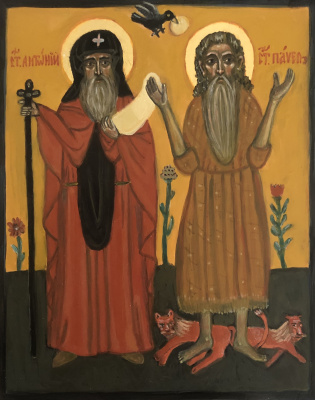 Victoria Malshakova. Saints Anthony the Great and Paul of Thebes.