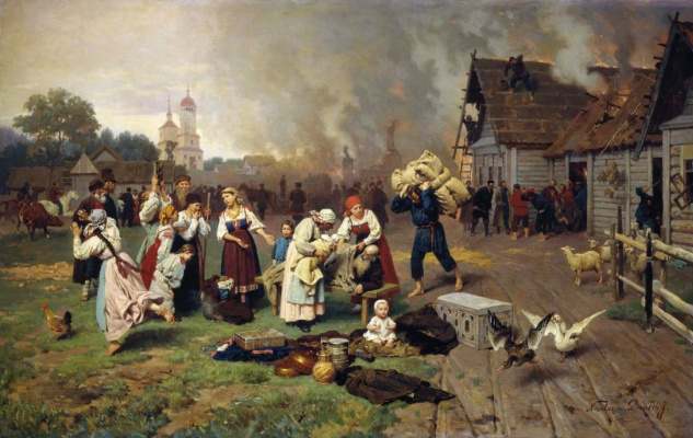 Nikolai Dmitrievich Dmitriev-Orenburg. A fire in the village
