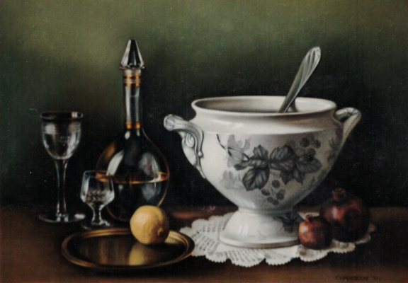 Galina Petrovna Khmelevskaya. Still life with a porcelain tureen