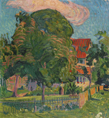 Cuno Amiet. Landscape with a garden and a house with a red roof