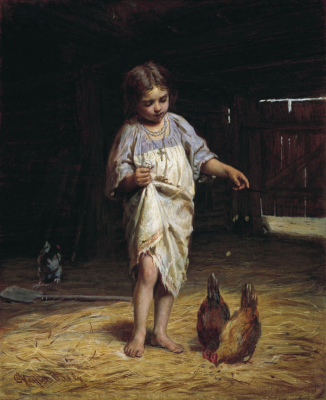 """Sergeevich Firs Zhuravlev. Girl with chickens. State Museum Association """"Art Culture of the Russian North"""", Arkhangelsk"""