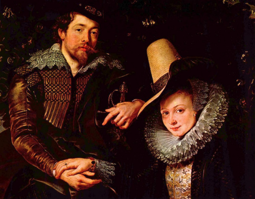Peter Paul Rubens. Self-portrait with his wife Isabella Brant in the honeysuckle background, fragment
