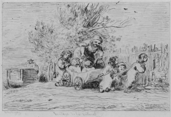 Charles-Francois Daubigny. Series album of the trip in the boat, the Kids in the wagon
