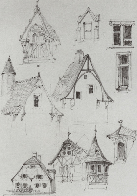 Vasily Dmitrievich Polenov. Architectural sketches. From traveling in Germany. Sketches